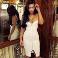 New Spaghetti Straps Sexy Vestidos White Black Nude Dress 2017 Front Zipper Split Celebrity Party Women Bodycon Bandage Dresses