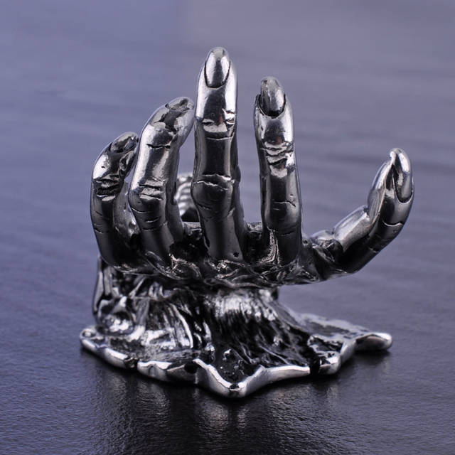STAINLESS STEEL SKULL & HAND STATUE DESK OFFICE
