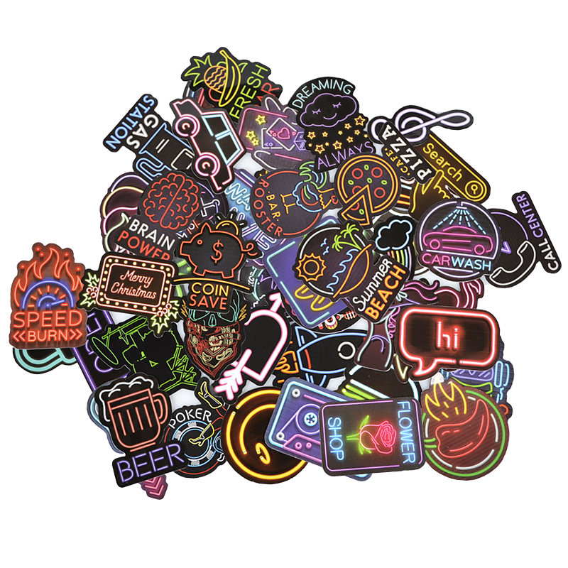 50PCS Neon Light Sticker Anime Animal Cute Decals Vinyl Stickers Gifts For Children To Laptop Suitcase Guitar Fridge Bicycle Car