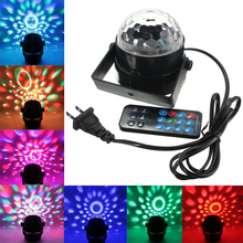 Sound Activated 3W RGB LED Mini Crystal Magic Ball Effect LED Stage Lights Laser Projector Disco DJ Light Party Lights