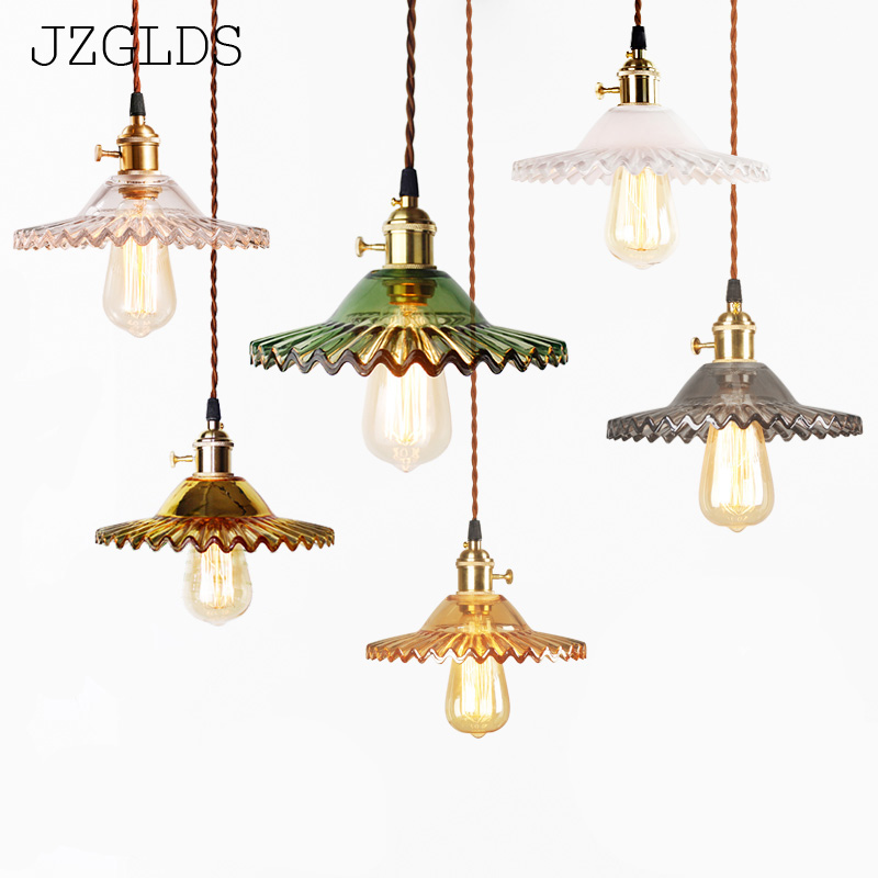 JZGLDS Nordic restaurant living room brass retro retro cafe chandelier tea shop glass Pendant Lamps