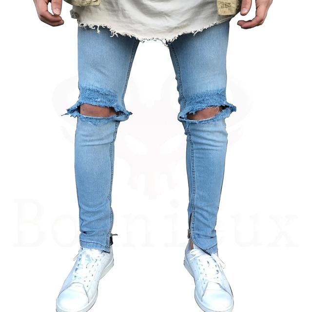 eaad85e369 2017 New blue Jeans Rotos Hombres Con Los Agujeros de Mezclilla Súper  Famoso Diseñador de la