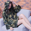 Autumn Harajuku loose student camouflage hooded hedging Sweatshirts female long-sleeved pullover long section of thin funds