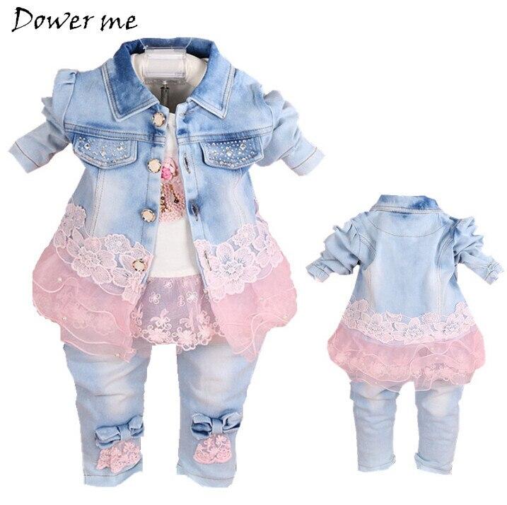 Для маленьких девочек Новая одежда Демисезонный маленьких Костюмы новорожденных Обувь для девочек джинсовое газовое Кружево комплект из 3 ...