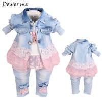 Baby Girl Clothes New Spring Autumn Baby Suits Newborn Girls Denim Gauze Lace Three Piece Set