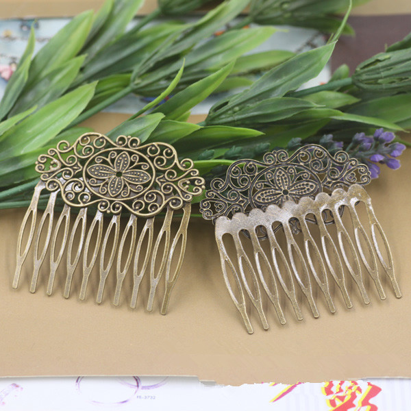 55x60mm 10 dentes de cabelo lado pente filigrana floral latão em branco grampos barrette cabelo diy acessórios headwear ajuste base barrettes