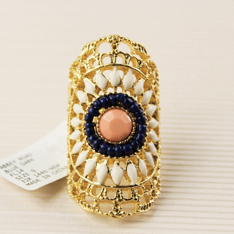 Women Colorful Bead Stone Glaze Cross Floral Gold Metal Lace Filigree Armor Knuckle Lady Long Full Finger Ring Fashion Jewelry