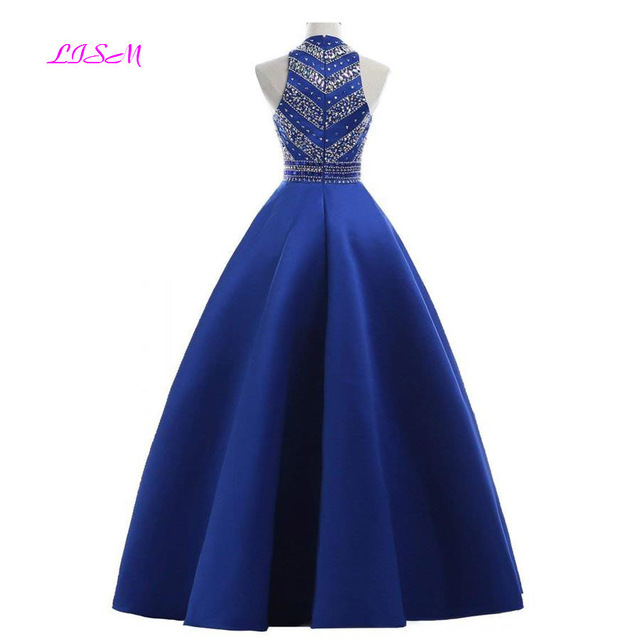 Royal Blue Crystals Prom Dresses 2019 A-Line Sleeveless Party Dress with Pockets O-Neck Beadings Satin Long Formal Evening Gowns 2