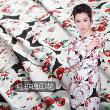 Hot sale new red rose printing fabric elastic polyester 145cm wide cloth fordress shirt pants factory direct