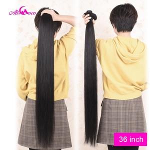 Image 4 - Ali Coco hint düz saç demetleri ile kapatma 30 inç 32 34 36 38 uzun insan saçı demetleri ile kapatma % 100% Remy saç