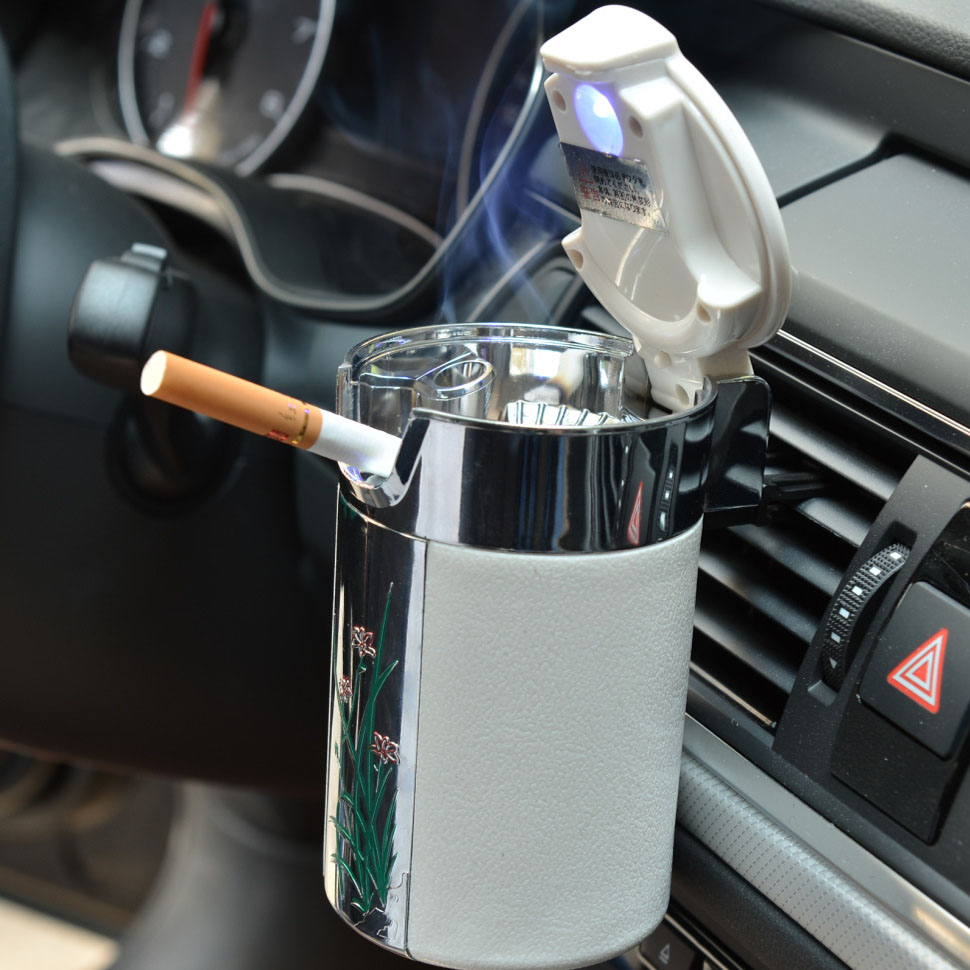 CHIZIYO Newest Car Portable Cigar Cigarette Ashtray Smokeless Carbon Fiber Car Ashtray With Led Light