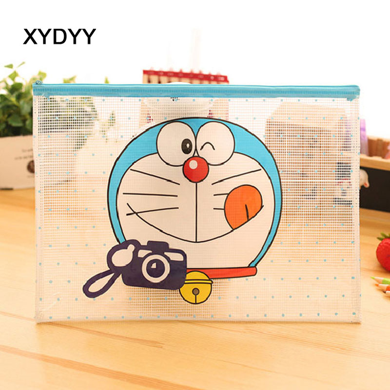 XYDYY Cartoon Doraemon Prints Women Cosmetic Cases Travel Transparent Waterproof PVC Cosmetic Bags Girls Makeup Organizer Pouch