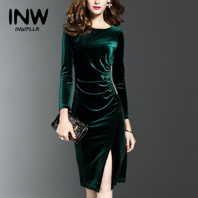 Autumn Winter Dress Women 2019 Casual Pencil Dresses Ladies Velour