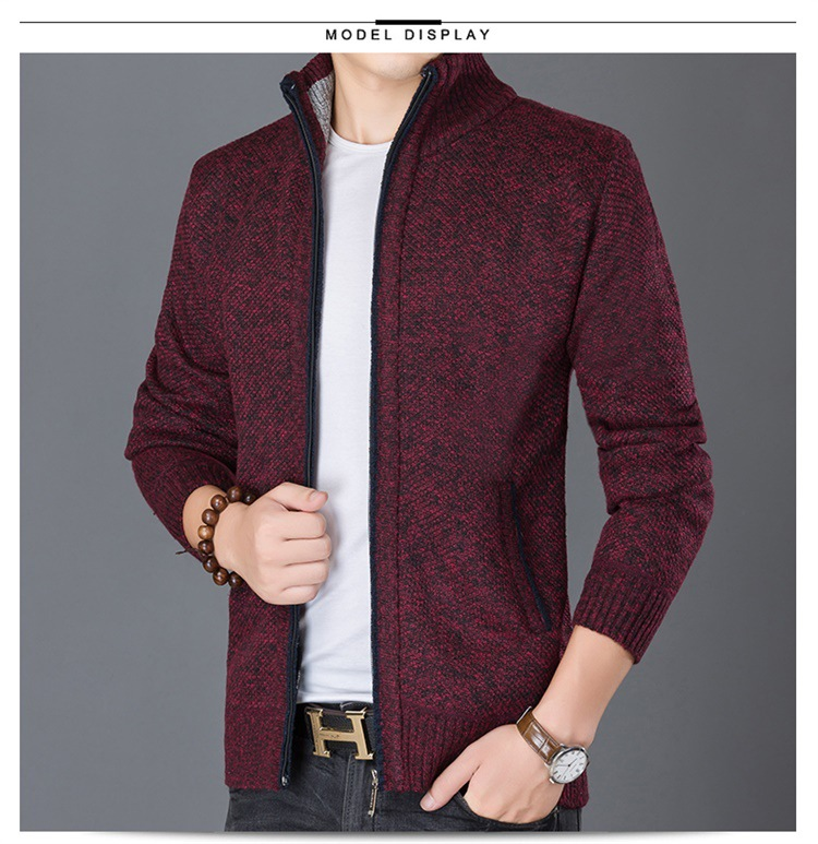 HTB1azHuX0fvK1RjSspoq6zfNpXaK Fashion Wind Breaker Jackets Men Stand Collar Thicken Fleece Jacket Solid Knit Overcoat Cardigan Male Coat Brand Men's Clothing