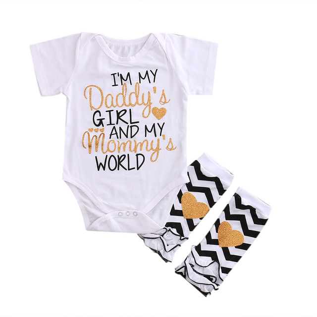 3198ed7e636 Newborn Infant Baby Girls Outfits I m daddy girl Romper+ Striped Warm Leggings  Jumpsuit Clothes