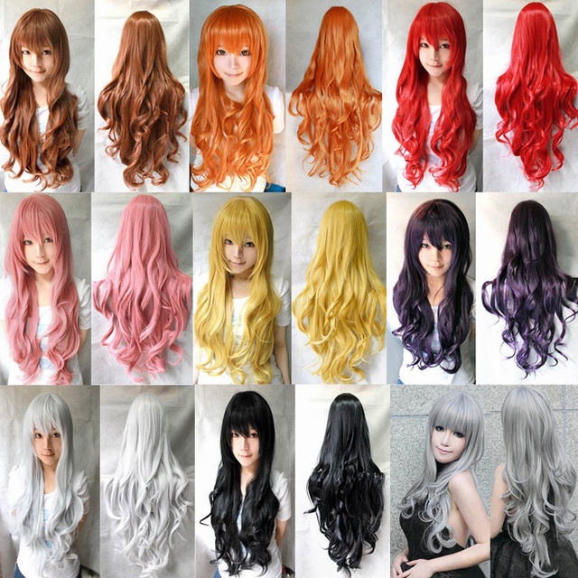 Hatsune miku wig Long Curly Wave synthetic party Pink Red lolita wigs 80cm Peluca Cosplay Wigs Perruque peruca femininas