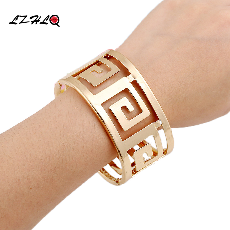 LZHLQ 2019 Moda Gjeometrike Hollow Wide Metal Bangle For Women Maxi Punk Rrathë byzylyk Rrokullisje Bang Bang Famous Famous Accessories Bizhuteri