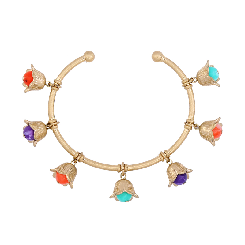 2017 Hot Sale Copper Open Cuff Bangles Colorful Acrylic Beads Small Bell Flower Charm Bangles Vintage Bohemia Jewelry Wholesale