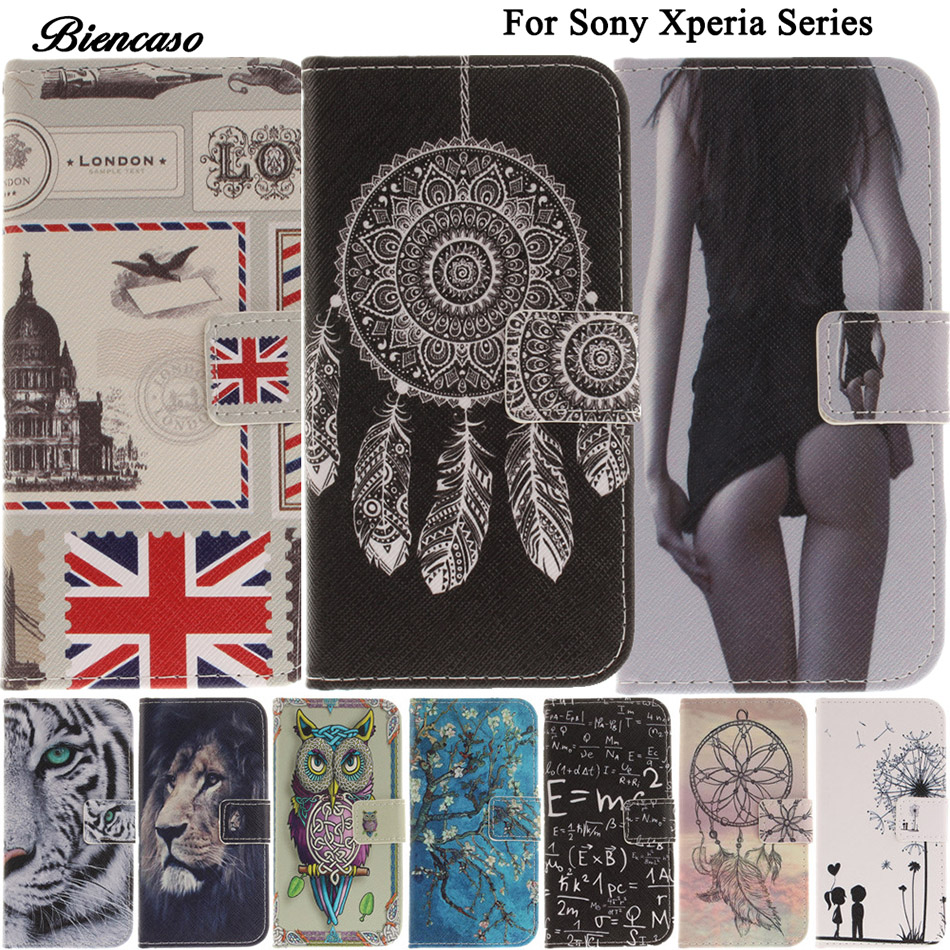 B42 Cute Pet Animals Lion Owl Leather Phone Case Cover For Sony Xperia C6 XA Ultra X mini X Compact XZ E6 L1 G3312 Capa Coque