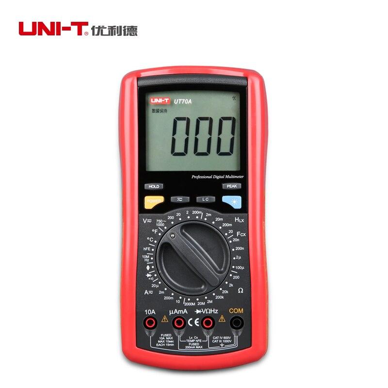 UNI T UT70A multímetro digital de freqüência condutância lógica transistor tester multímetro temperatura display analógico