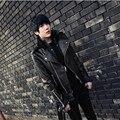 Мужчины вскользь Тонкой нагрудные косой молнией карман в юбке черный пиджак подростков молодежи жизнеспособность популярный кожаное пальто верхняя одежда
