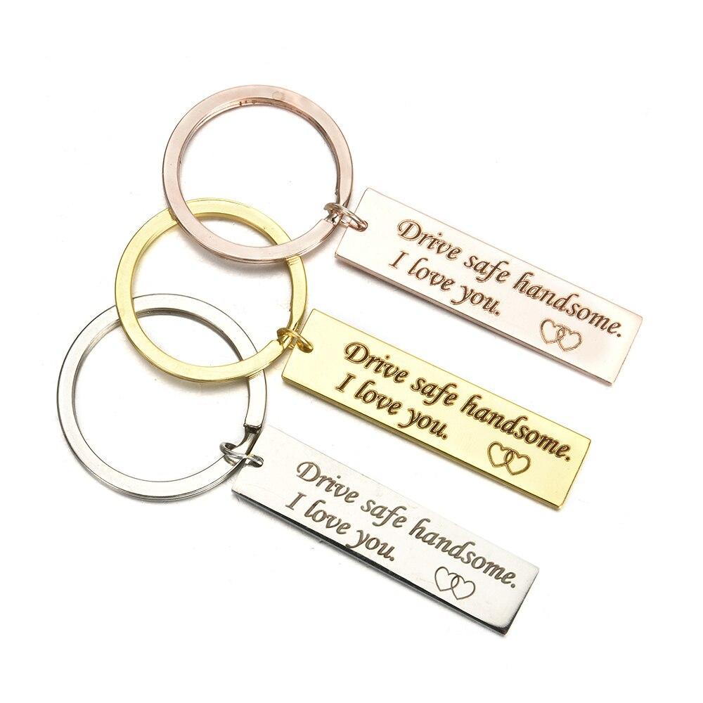 "Romantic Keyring Keychain For Boyfriend /""Drive Safe Handsome I Love You/"" Gift"