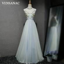 VENSANAC 2018 A Line V Neck Crystal Long Evening Dresses Elegant Lace Flowers Party Appliques Tulle Prom Gowns