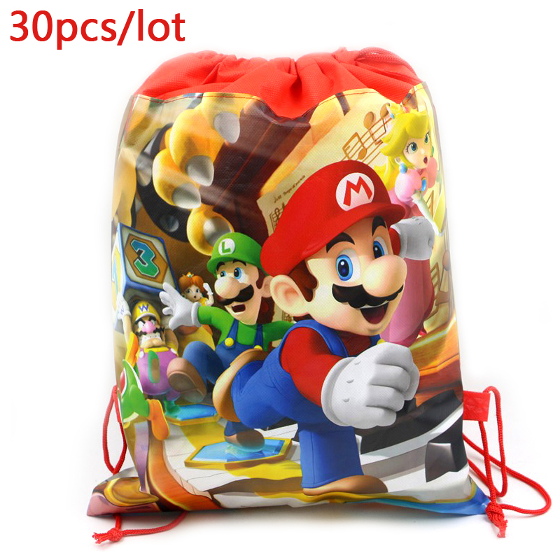 30pcs/lot Decorate Boys Favors Backpack Events Party Super Mario Theme Happy Birthday Drawstring Gifts Bags Baby Shower Mochila-in Gift Bags & Wrapping Supplies from Home & Garden