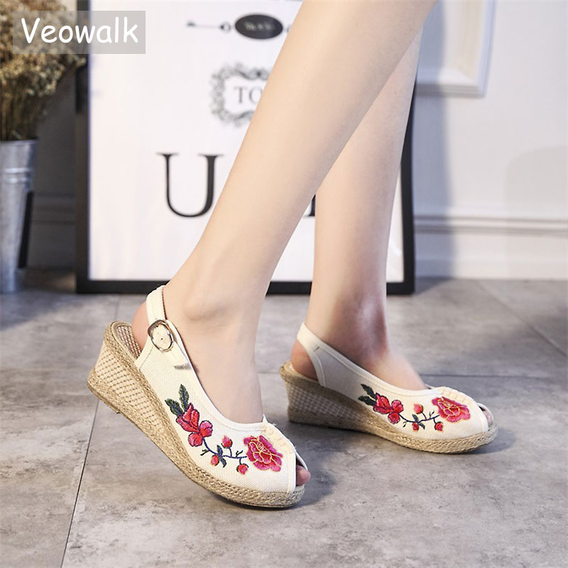 Veowalk Women's Open Peep Toe Linen Slingback Wedge Sandals Retro Summer Style Med Heel Soft Cotton Embroidered Shoes for Ladies