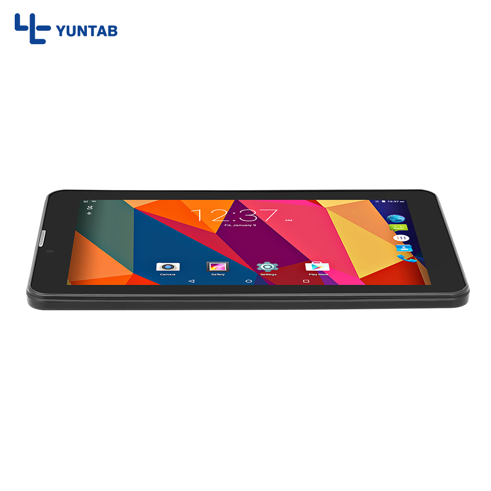 7'' E706 Yuntab Black Color GPS Double Mini SIM Card 1.3GHz Quad Core Cortex A7 Dual Camera 1GB+8GB Phone Call Tablet PC
