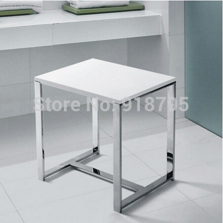 Solid Surface Stone Resin Small Glossy Bathroom Stool Bathroom Steam Shower Chair 16 x 12 inch  SW114