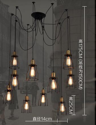 8 10 12 15 Hoofden Ijzer Bridge Vintage Hangende Lampen