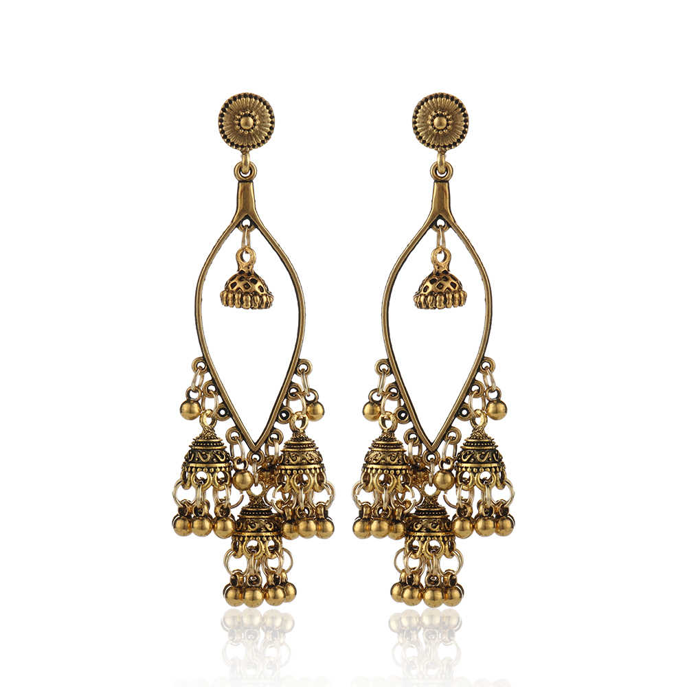 Fashion Women Sector Gold Jhumka Earrings Indian Jewelry Ethnic