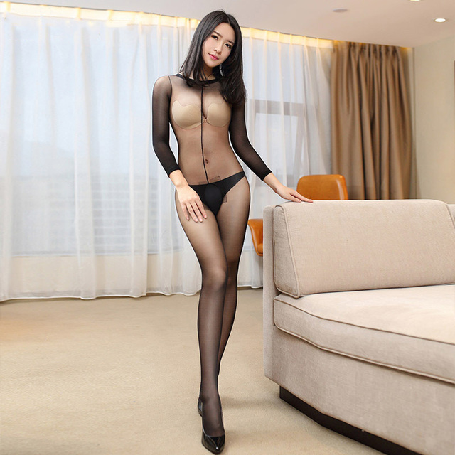 Open Crotch Tights Sleeve Bodysuit  2
