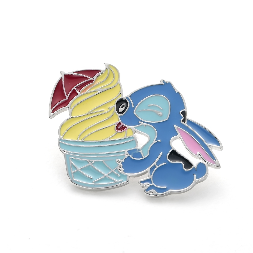 Stitch with Ice Cream Anime Figure Pin,the Hard Enamel Pin Brooch Lilo and Stitch Cartoon Jewelry for Kids Hat/Bags Accessory