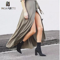 Prova Perfetto New Arrival Comfort Elastic Sock Boots Women Pure Color Slip On Stiletto Botas Point Toe High Heel Ankle Boots