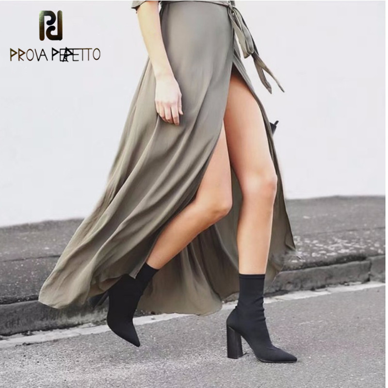 Prova Perfetto New Arrival Comfort Elastic Sock Boots Women Pure Color Slip On Stiletto Botas Point Toe High Heel Ankle Boots fashion catwalk pointed toe ankle boots for women candy color satin sock booties stiletto heel slip on botas mujer