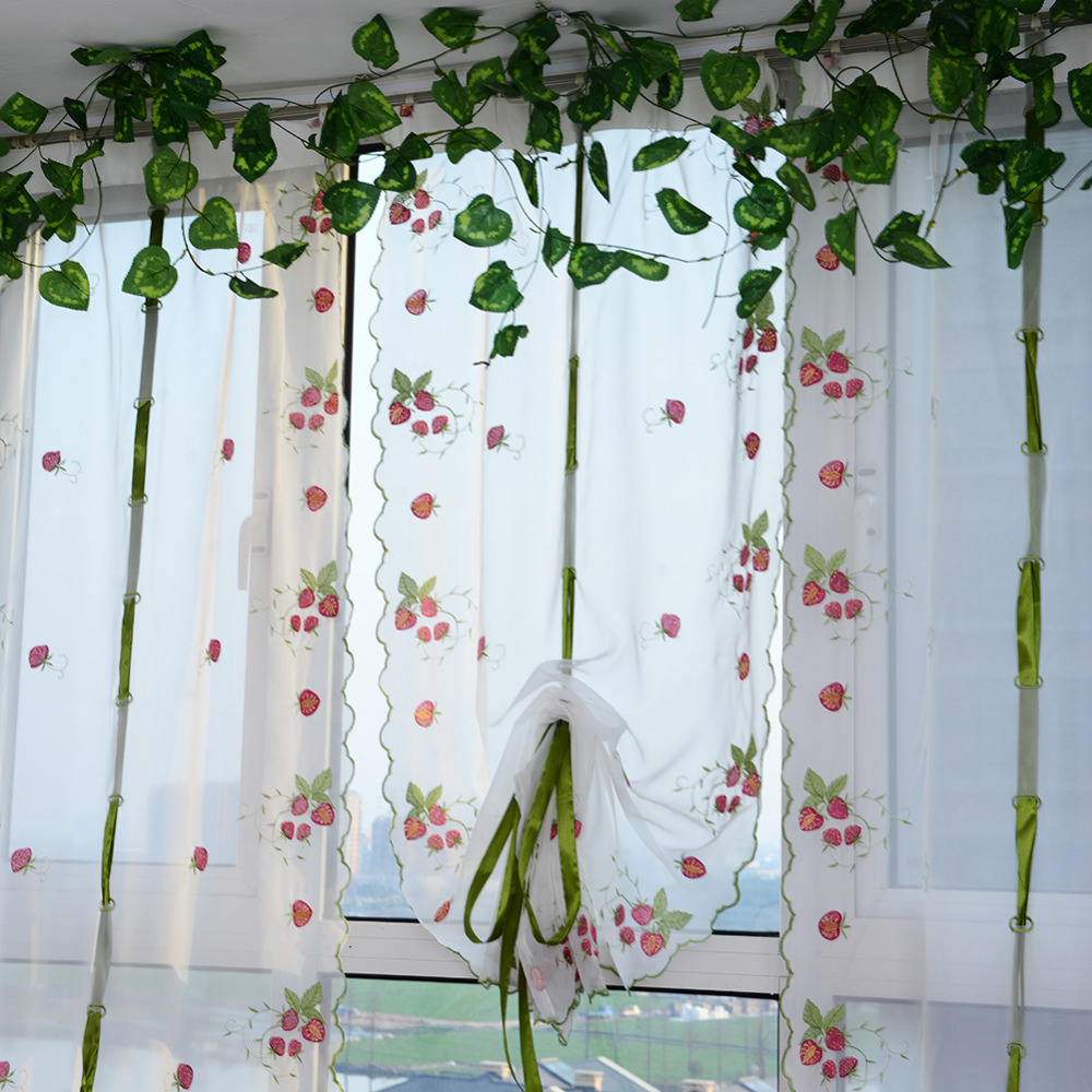 fruit kitchen curtains matches romantic 1 pcs 0 8 m window sheer voile tulle curtain printed for bedroom living room decoration