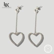 2016ยอดขายจริง925เงินสเตอร์ลิงวางต่างหูหรูสำหรับผู้หญิงInlayหัวใจรักยาววางต่างหูต่างหูสดใส