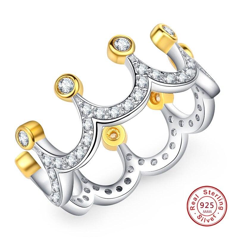 Лидер продаж 925 Щепка кольцо принцессы тиара Royal Crown с кристаллом кольца для Для женщин Свадебная вечеринка подарок Fine Jewelry