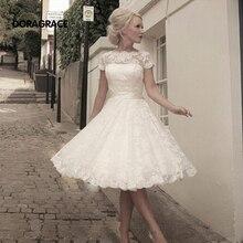 Classic Romantic Short Sleeve Lace Mid-Calf Wedding Dresses Bridal Gowns vestido de noiva DG0055