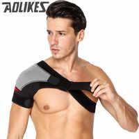 Adjustable Breathable Gym Sports Care Single Shoulder Support Back Brace Guard Strap Wrap Belt Band Pads Black Bandage Men&Women