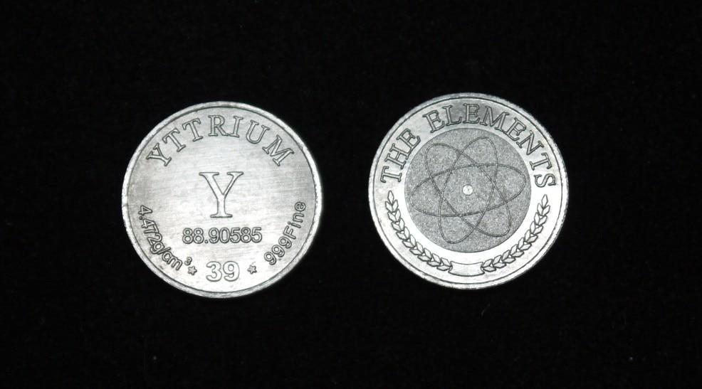 Yttrium rare earth element commemorative coin series, pure yttrium 99.9%, diameter 20mm, weight 2.03g bitcoin commemorative coin 1pc
