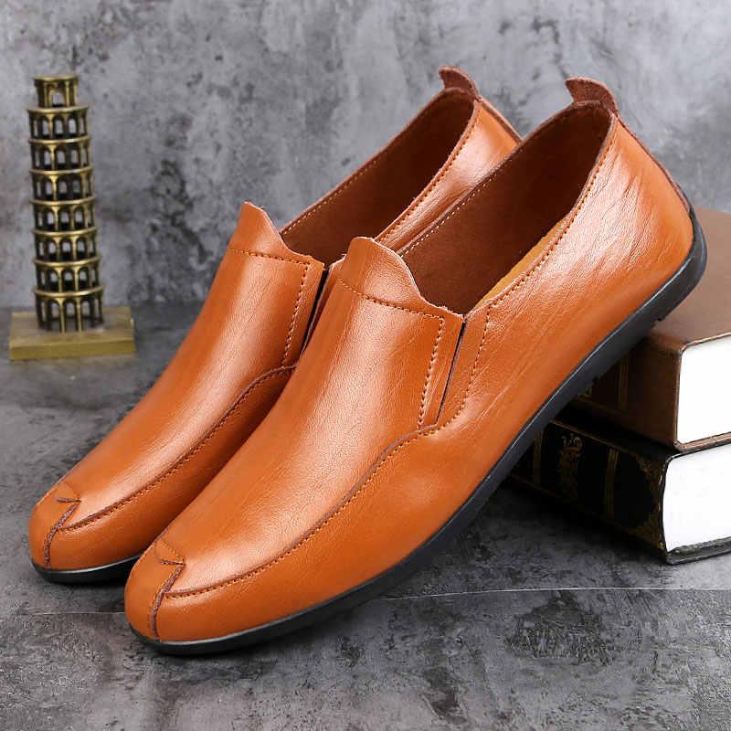 Zapatos de vestir formales de diseñador italiano de gran tamaño para hombre, zapatos de boda de marca de lujo negro, Oficina plana para hombre, de verano marrón