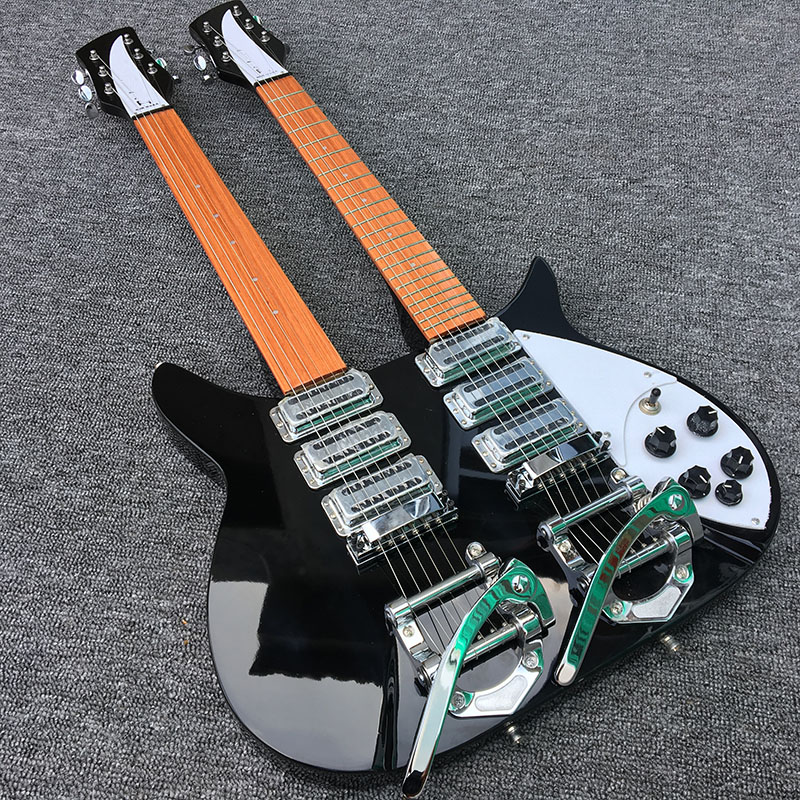 2018 haute qualité ricken Double tête 325 guitare électrique, ramassage coréen avec 5 degrés cou de guitare, vraies photos, livraison gratuite!