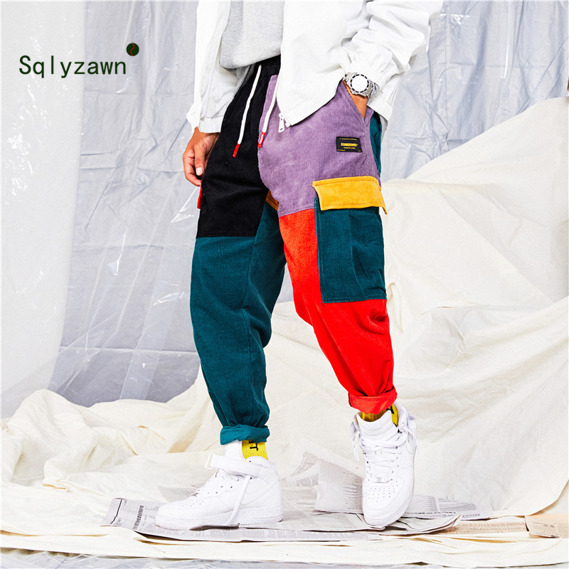Men And Women Hip Hip Pants Color Block Patchwork Corduroy Cargo Harem Pant Streetwear Harajuku Jogger Sweatpant Cotton Trousers