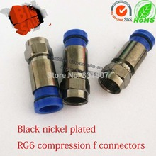 Wholesale Black nickel plated copper RG6 compression coax f connectors RG59 RG6 RG11 waterproof  f connector coaxial RF plug все цены