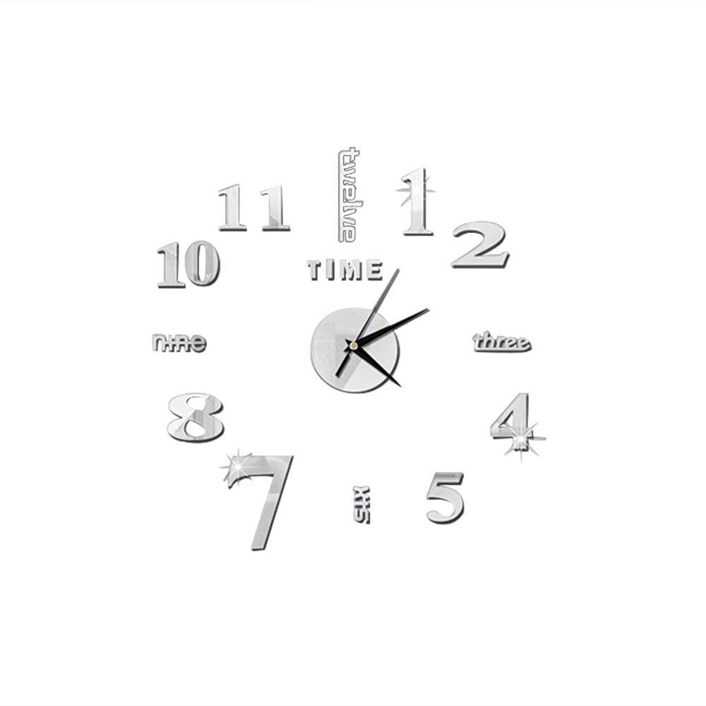 DIY 3D зеркальные настенные наклейки настенные часы художественная роспись домашний Декор Гостиная ТВ Фоновые наклейки настенные часы кварцевые иглы - Цвет: E Silver