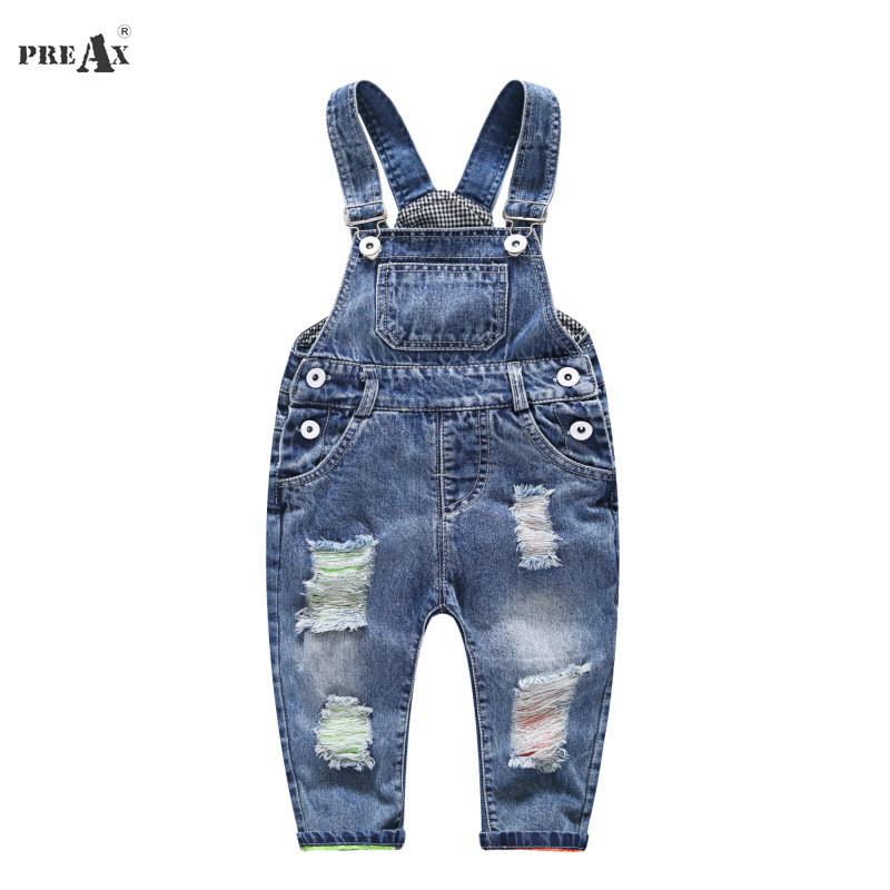 2018 Spring Autumn Baby Denim Suspenders Boys Girls Jeans Overalls All-Match Kids Jumpsuit Butter Siamese Trousers Pants 1-4T все цены