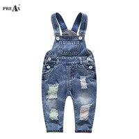 2018 Spring Autumn Baby Denim Suspenders Boys Girls Jeans Overalls All Match Kids Jumpsuit Butter Siamese